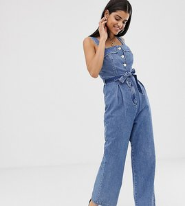 Read more about Asos design tall denim square neck button jumpsuit