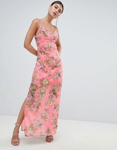 Read more about Missguided chiffon floral side split maxi dress - pink floral