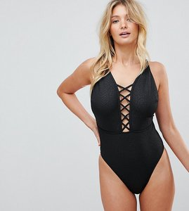 Read more about Wolf whistle croc printed lattice plunge swimsuit dd - g cup - black