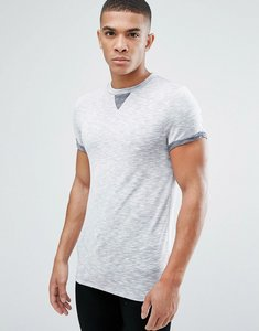 Read more about Asos muscle t-shirt with roll sleeve and modesty triangle in interest fabric - grey inject