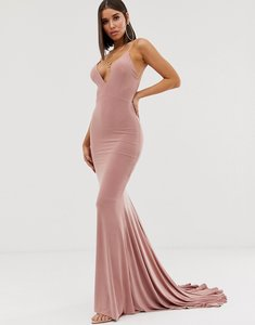 Read more about Club l london high strappy back fishtail maxi dress in pink