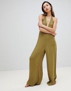Read more about Influence beach jumpsuit in halter neck - khaki