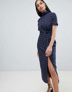 Read more about Fashion union high neck midi dress with ruched front detail - blue check