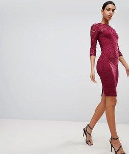 Read more about Ax paris 3 4 sleeve lace midi dress - plum