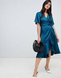 Read more about Y a s satin floral jacquard floral wrap dress - blue