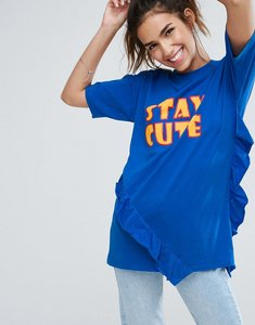 Read more about Asos t-shirt with frill detail and stay cute print - cobalt