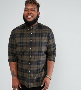 Read more about Asos design plus stretch slim poplin check shirt in green - khaki