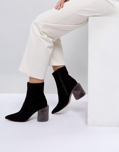 Read more about Asos white dahlia premium suede heeled boots - black