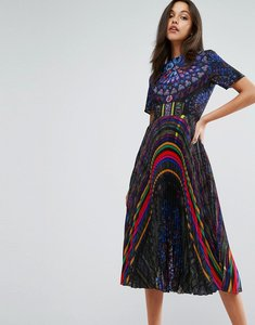 Read more about Skeena s midi dress in allover print with pleated skirt - multi