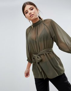 Read more about Asos design sheer belted blouse with open back - khaki
