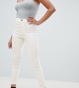Read more about Asos design rivington high waist denim jeggings in white with pink star bum stitching detail - white