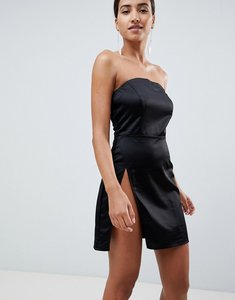 Read more about In the style sarah ashcroft bandeau thigh split mini dress - black