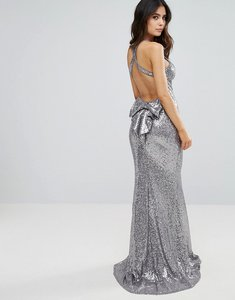 Read more about City goddess sequin fishtail maxi dress with bow back - silver