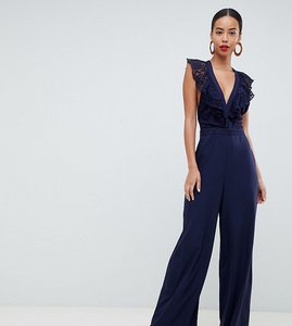 Read more about Asos tall wrap lace jumpsuit with wide leg - navy