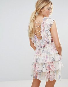 Read more about Y a s ruffle floral lace up back mini dress - multi