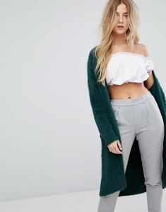 Read more about Bershka longline fluffy cardigan - green