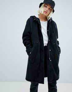 Read more about Asos design denim parka in washed black - washed black