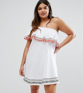 Read more about Asos curve one shoulder sundress with aztec trims and pom poms - white