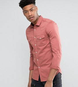 Read more about Asos tall skinny denim western shirt in pink - pink