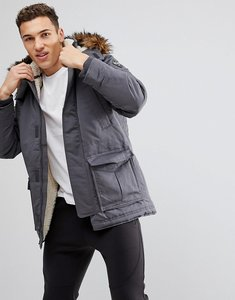 Read more about Hollister all weather parka jacket faux fur hood in grey - grey