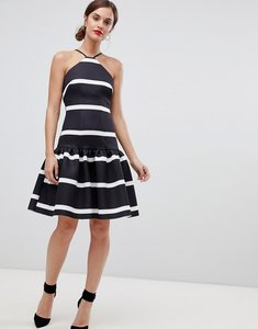 Read more about Asos design stripe scuba drop waist midi dress - mono