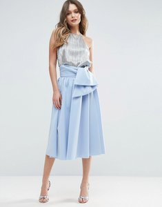 Read more about Asos scuba prom skirt with tie waist - blue