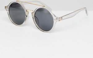 Read more about Aj morgan crystal round sunglasses with brow bar - clear