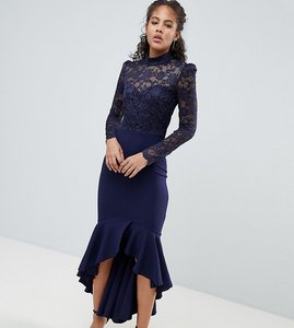 Read more about City goddess tall long sleeve high neck fishtail maxi dress with lace detail - navy