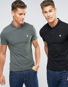 Read more about Asos 2 pack muscle polo shirt with logo in black green save - black murky