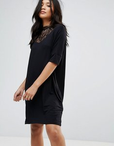 Read more about Y a s busy lace high neck shift dress - black