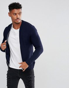 Read more about Asos knitted muscle fit bomber jacket in navy - navy