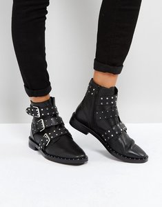 Read more about Stradivarius multi buckle ankle boots - black