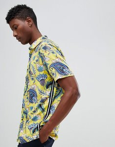 Read more about Asos design regular fit floral shirt with taping detail - yellow