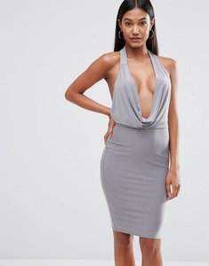 Read more about Club l high neck bodycon dress with cowl front - grey