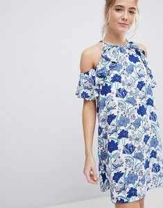 Read more about En creme floral cold shoulder mini dress with ruffle - white blue