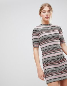 Read more about First i stripe bodycon dress - peach beige