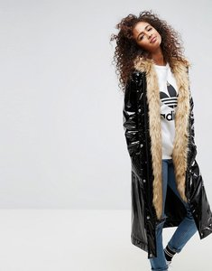 Read more about Asos maxi parka in vinyl with faux fur hood - black