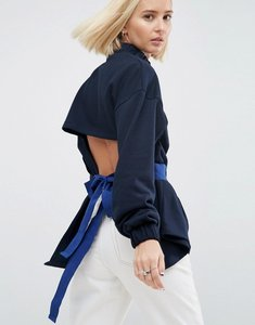 Read more about Asos white sweat top with tie waist - navy