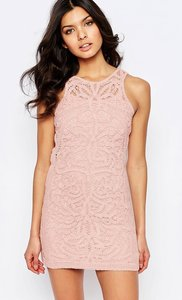 Read more about Foxiedox monticello lace mini dress - pink