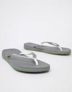 Read more about Havaianas brasil logo flip flops in grey - grey
