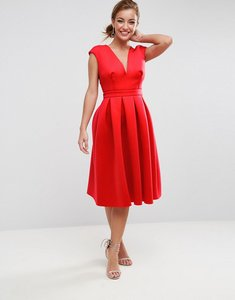 Read more about Asos scuba deep plunge prom midi dress - red