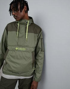 Read more about Columbia challenger packable overhead hooded jacket lightweight in green - mosstone