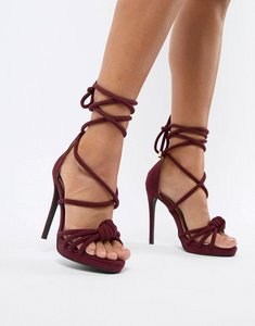 Read more about Missguided knotted heeled sandals - burgundy