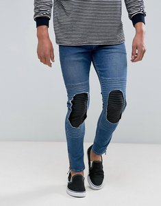 Read more about Asos super skinny jeans in mid wash blue biker with leather look rip and repair - mid wash blue