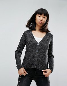 Read more about Asos cardigan in rib in metallic yarn - black