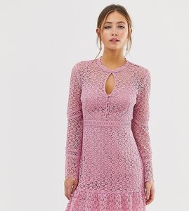 Read more about Forever new lace mini dress with laddering detail in pink