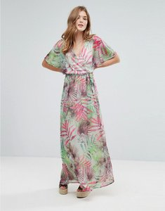 Read more about Lavand kimono sleeve maxi dress in palm print - g