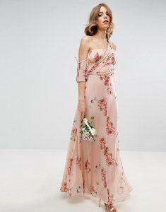 Read more about Asos wedding one shoulder maxi dress in summer rose bouquet print - multi