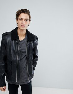 Read more about Black dust leather jacket with faux fur collar - black