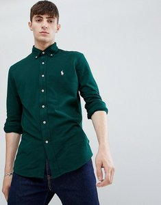 Read more about Polo ralph lauren slim fit pique shirt player logo button-down in dark green - college green
